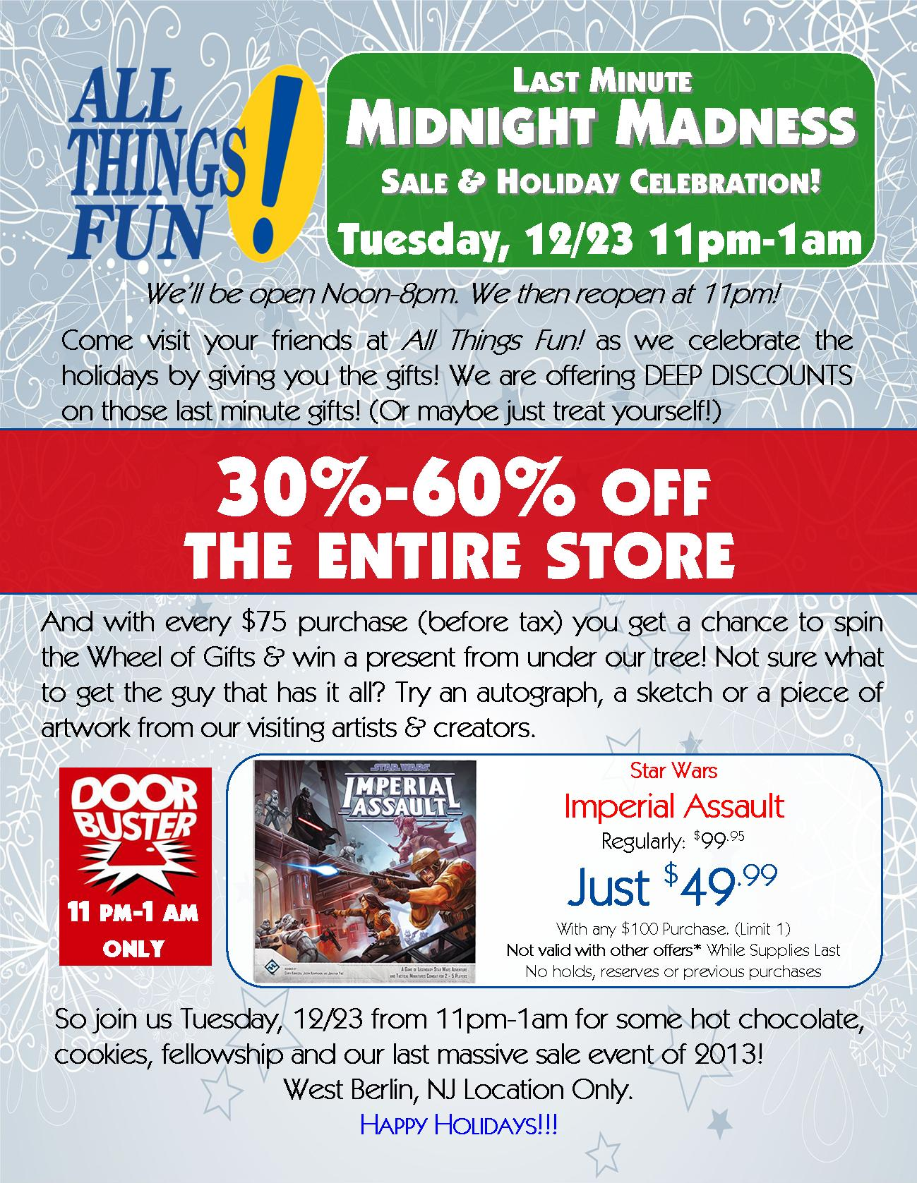Last Minute Midnight Madness Sale & Holiday Celebration! @ All Things Fun! | Berlin Township | New Jersey | United States