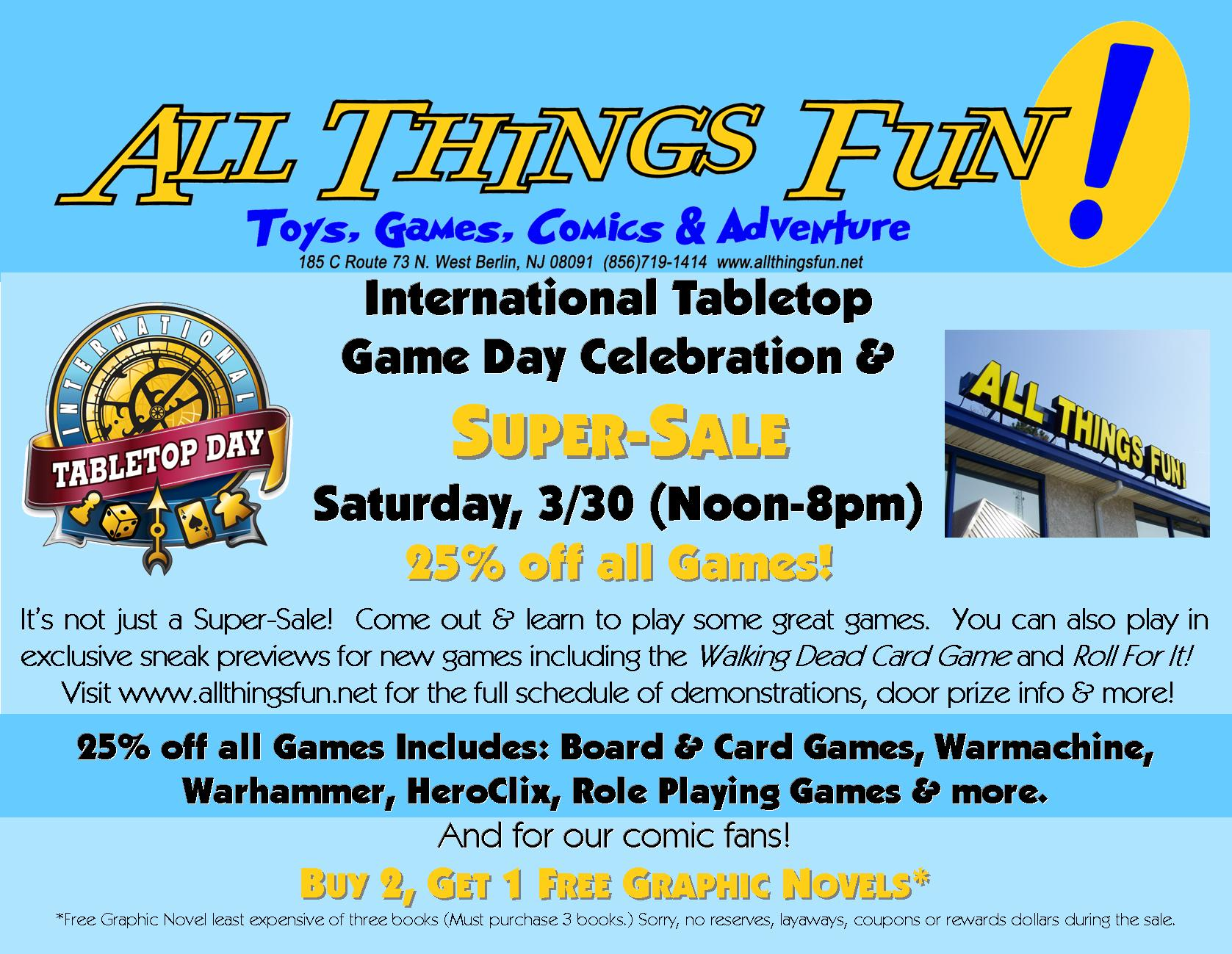 Intl Table Top Day @ All Things Fun!